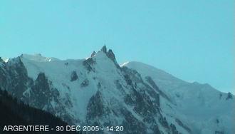 L'aiguille du midi, départ de la Vallée Blanche, depuis Argentiere